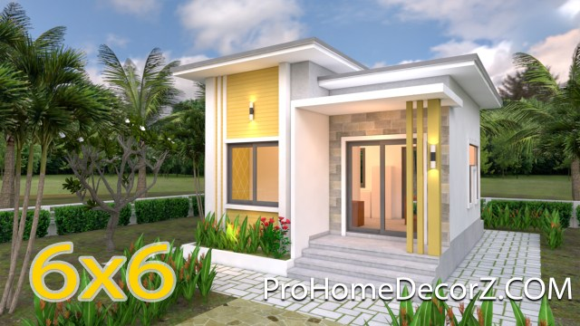 Small Modern House 6x6 Meter 20x20 Feet Flat Roof