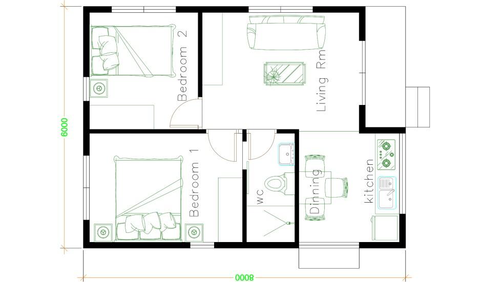 Small Modular Homes 6x8 Meter 20x26 Feet 2 Beds floor plan