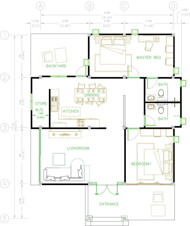 Bungalow House Plans 31x43 Feet 9x13.5 Meters 2 Beds House layout floor plan