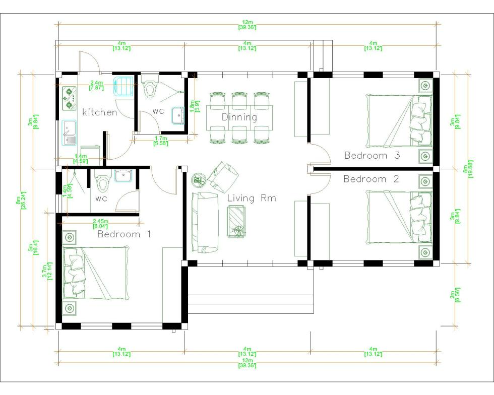 Contemporary House Plans 12x8 Meter 40x27 Feet 3 Beds Layout floor plan