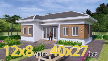 Contemporary House Plans 12x8 Meter 40x27 Feet 3 Beds