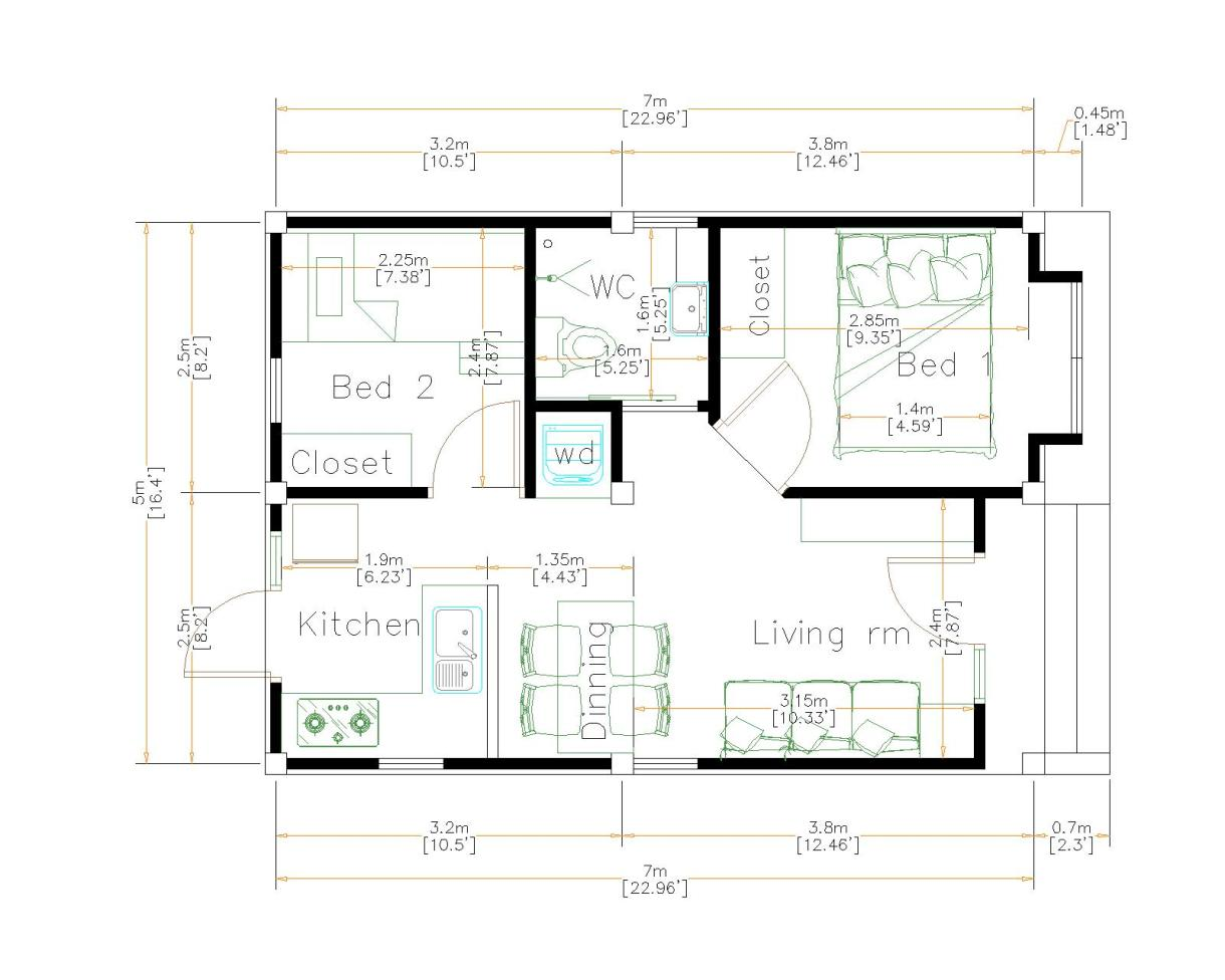 Small House Plans 5x7 Meters (35sq.m)