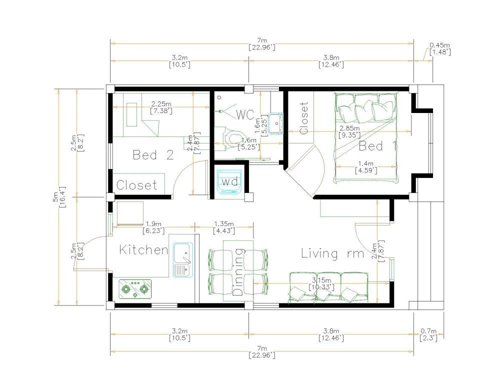 Design My House 5x7 Meters 16x23 Feet floor plan