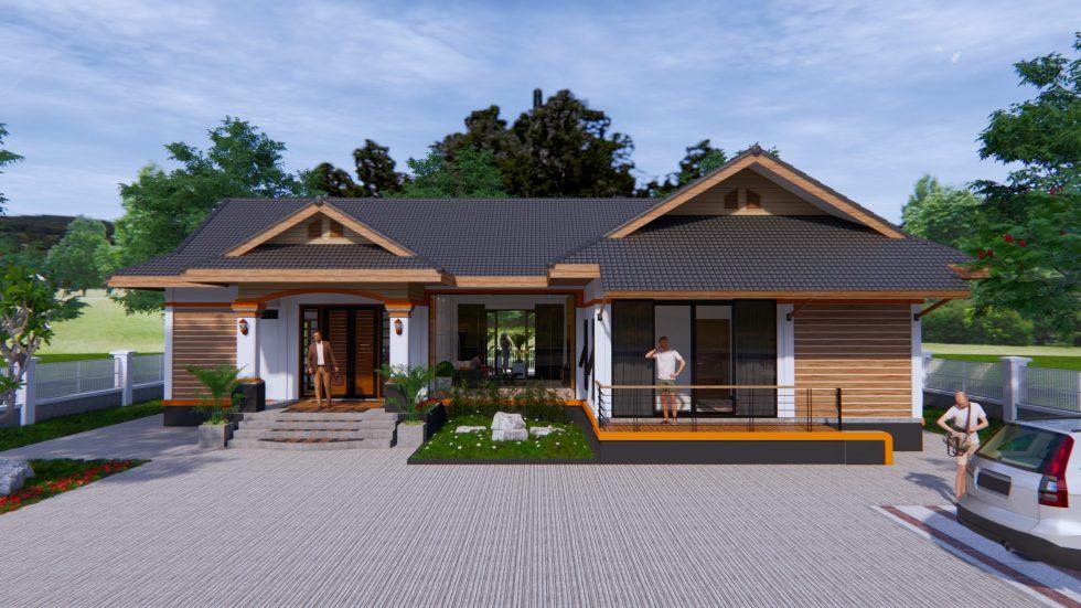 Home Design Plans 19x15 Meter 63x49 Feet 3 Beds 2