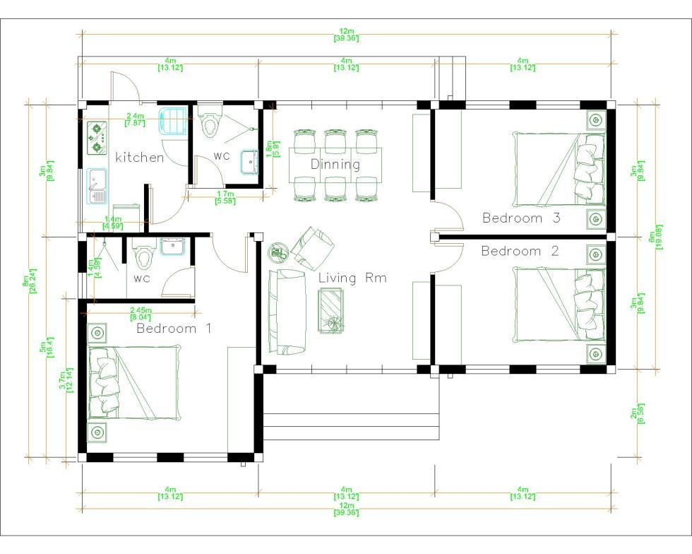 Home Layout Design 12x8 Meter 40x27 Feet 3 Beds Layout floor plan