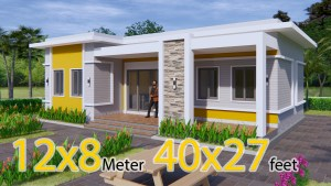 Home Layout Design 12x8 Meter 40x27 Feet 3 Beds