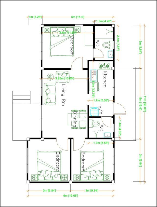 House Design Plans 11x6 Meters 36x20 Feet 3 Bedrooms Layout floor plan