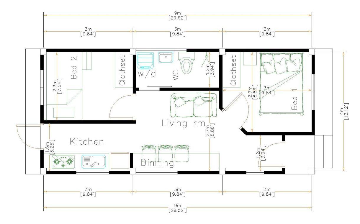 Tiny House Plans 4x9 Meters 2 Beds Terrace Roof floor plan