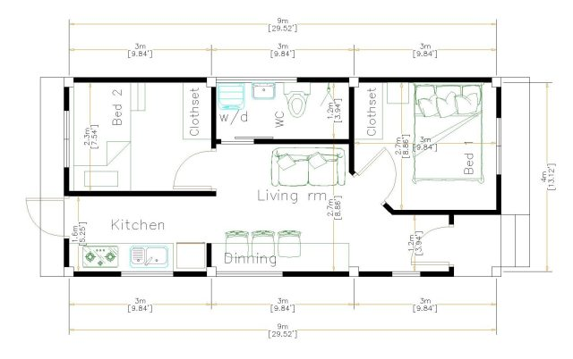 New Home Plans 4x9 Meter 13x30 Feet floor plan