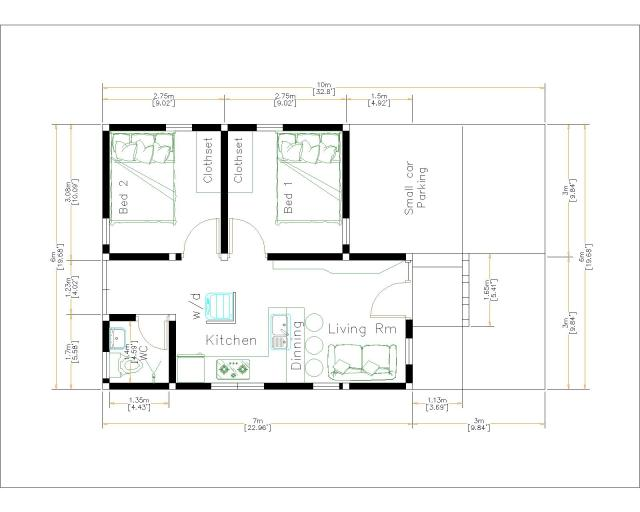 Small Brick Houses 6x7 Meter 20x23 Feet 2 Bed layout floor plan