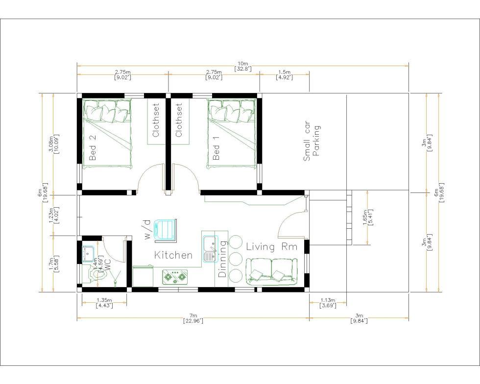 Small Brick Houses 6x7 Meter 20x23 Feet 2 Bed layout floor plan