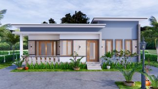 1 Story Modern House 12x12 Meters 40x40 Feet