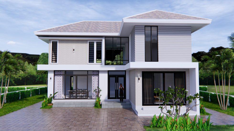 Home Designs 12.4x11 Meter 41x35 Feet 4 Beds 2