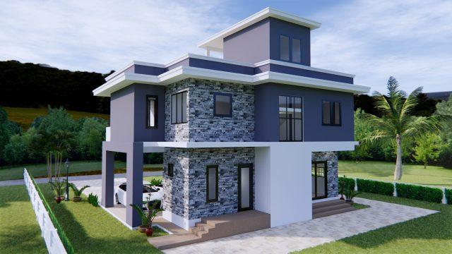 House Design 11x8 Meter 36x26 Feet 3 Beds 5