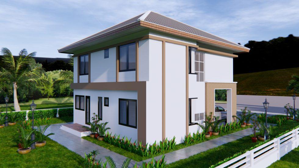 House Design 9x11 Meter 30x36 Feet 4 Beds 6