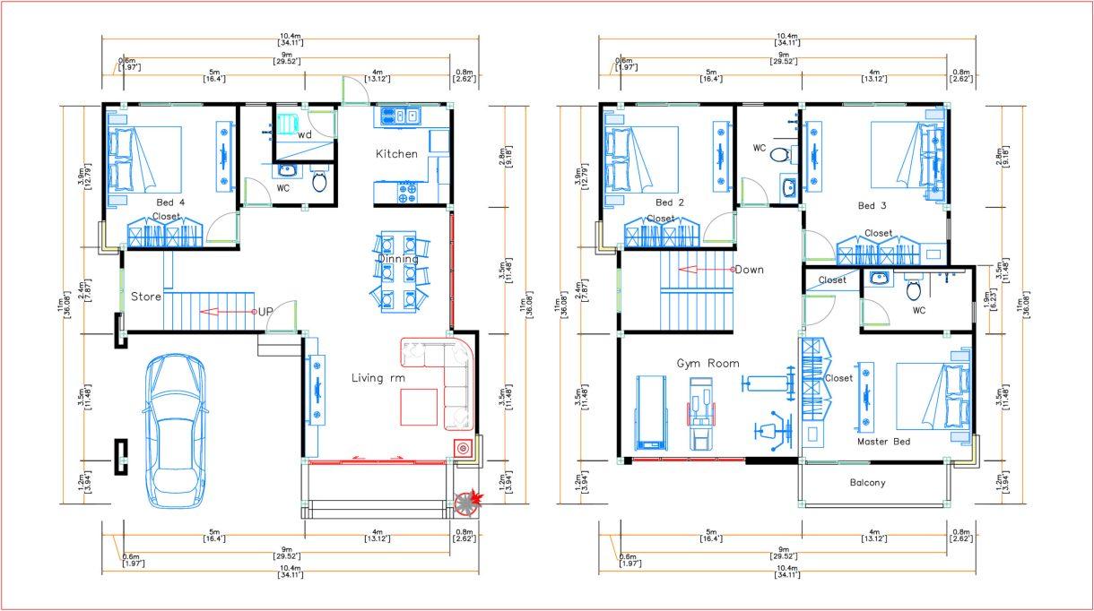 House Design 9x11 Meter 30x36 Feet 4 Beds layout floor plan