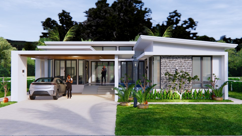 House Design with Pool 14x14 Meter 46x46 Feet 3 Beds 2