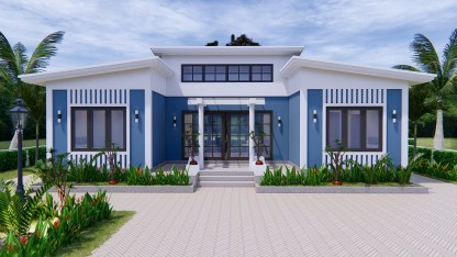 House Plans 13x7.5 Meter 43x25 Feet 3 Beds 1