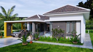 House Plans with Pool 14x14 Meter 46x46 Feet 3 Beds 3
