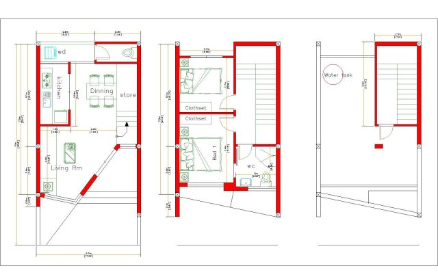 Home Designs 5x10 Meter 17x33 Feet 2 Beds layout floor plan