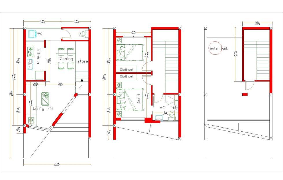 Home Designs 5x10 Meter 17x33 Feet 2 Beds layout floor plan