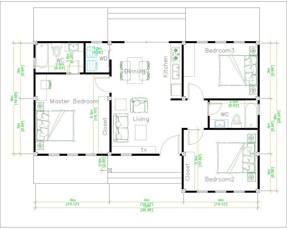 Luxury House Plans 12x8 Meters 40x26 Feet 3 Beds 2