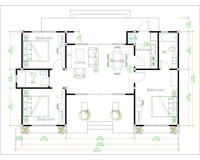 Modern Architecture Homes 13x7.5 Meter 43x25 Feet 3 Beds Layout floor plan