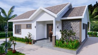 Modern House Drawing 12x9 Meter 40x30 Feet 2 Beds 2