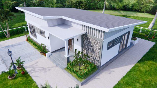One Storey Building 12x9 Meter 40x30 Feet 2 Beds 5