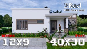 Online House Design 12x9 Meter 40x30 Feet 2 Beds