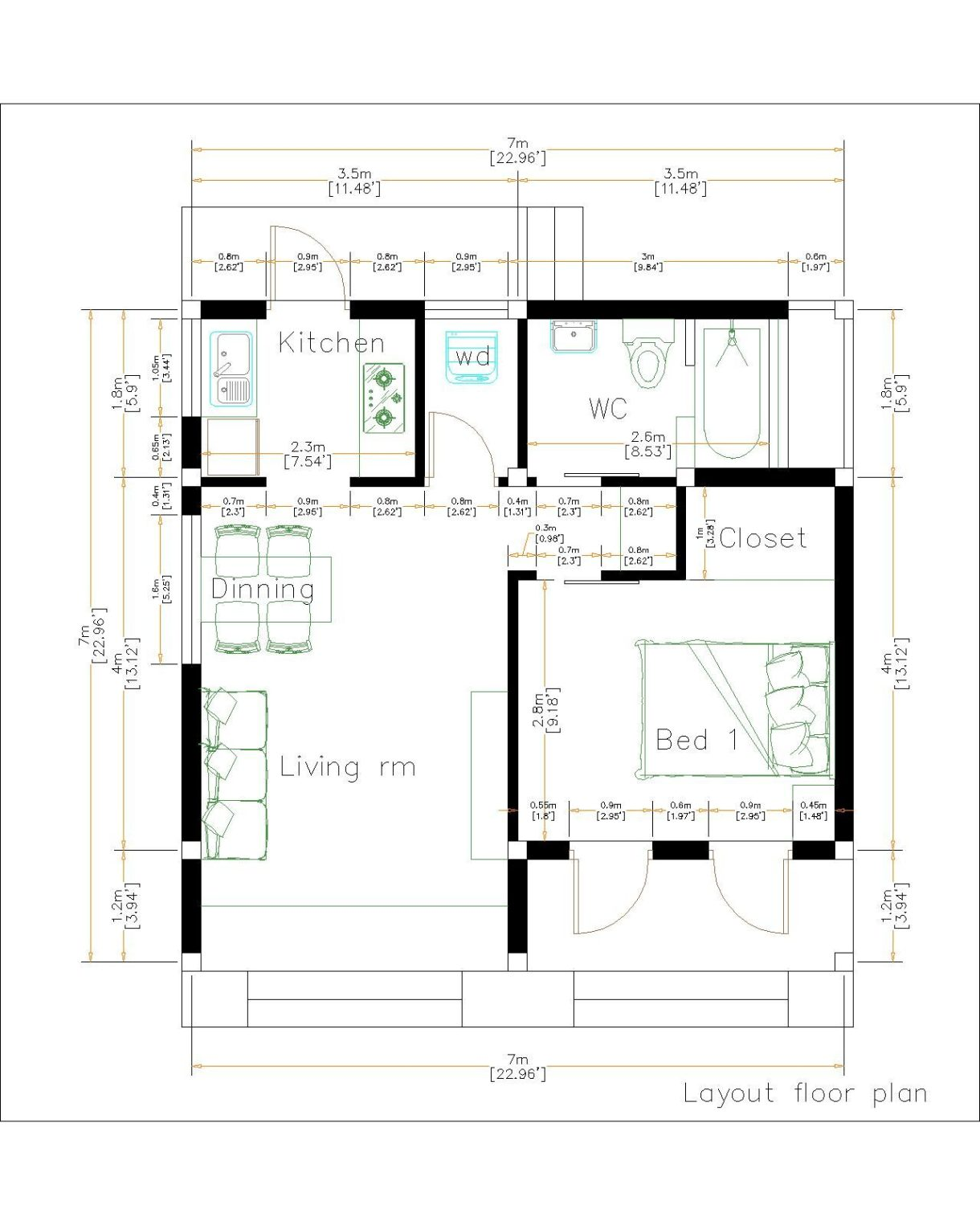 Small House Design 7x7 Meter 23x23 Feet One Bed Layout floor plan