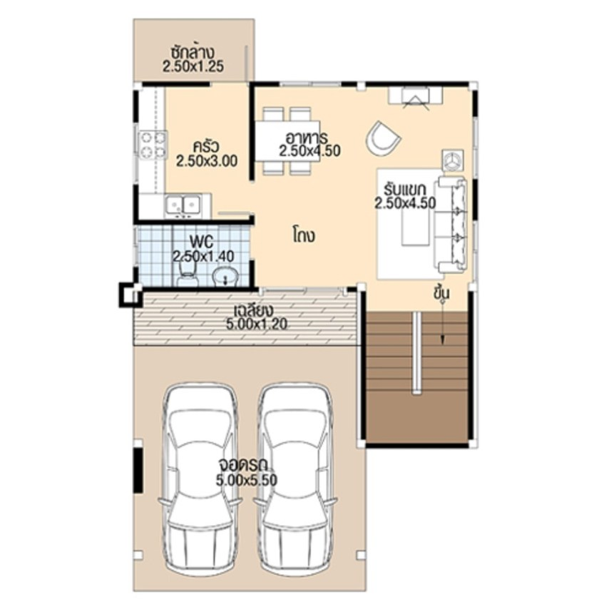 House plans 3d 7.5x11 with 3 bedrooms floor plans ground floor
