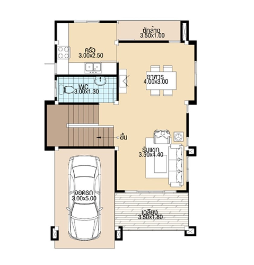 Modern House Design 7x11 with 3 Bedrooms ground floor plans