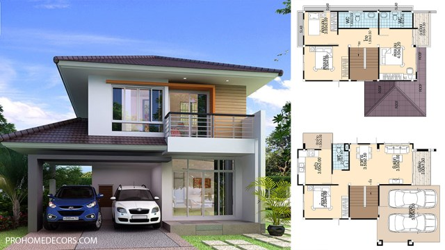 Simple House Design 8.5x12 with 4 bedrooms