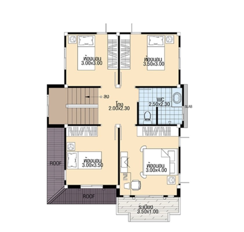 Small House Plans 7.5x10.3 meter with 4 Bedrooms first floor plan