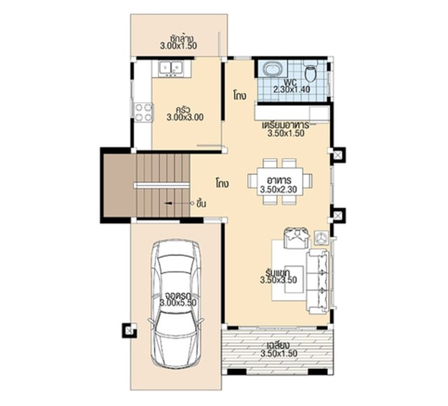 Small House Plans 7.5x10.3 meter with 4 Bedrooms ground floor plan