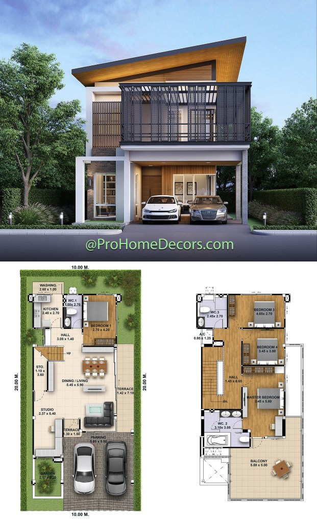 House Design Plot 10x20 with 4 Bedrooms