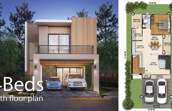 House Design Plot 10×21 with 4 Bedrooms
