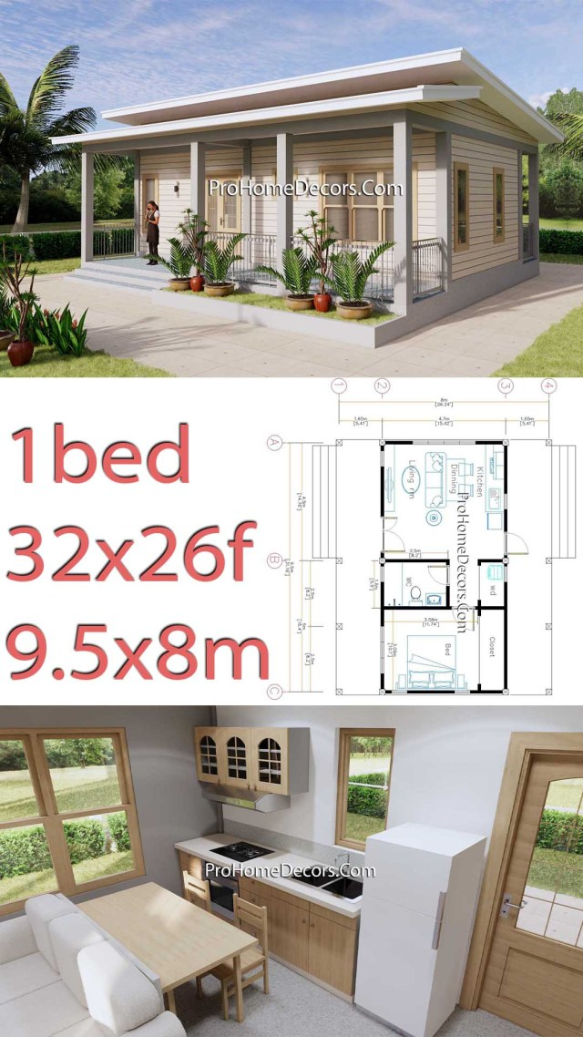 House Design Plans 32x16 Shed Roof 1 Bed PDF Plan p1