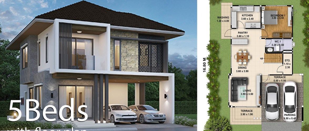 House Plan 3d 13×16 with 5 Bedrooms