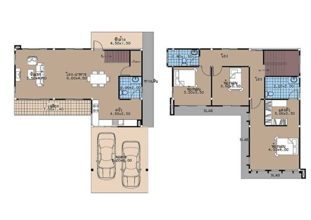 House Plans 12x11 with 3 Beds floor plan