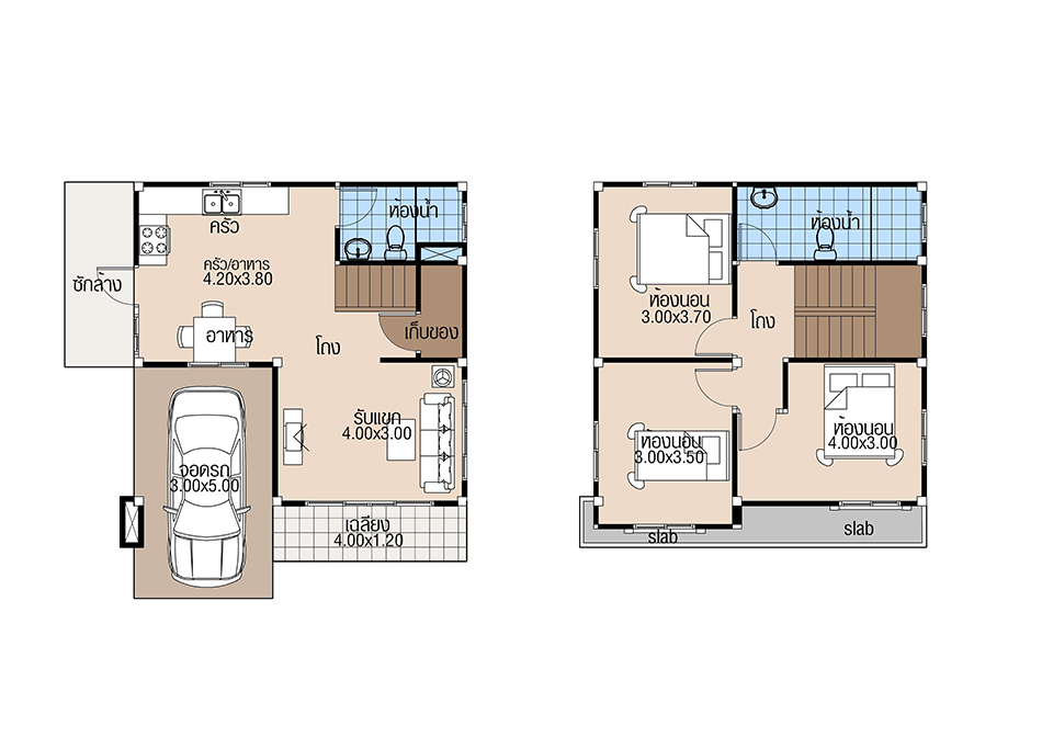 House Plans 7x6.8 with 3 Beds floor plan
