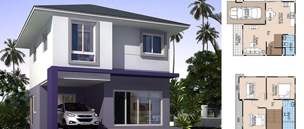 House Plans 7×6.8 with 3 Beds