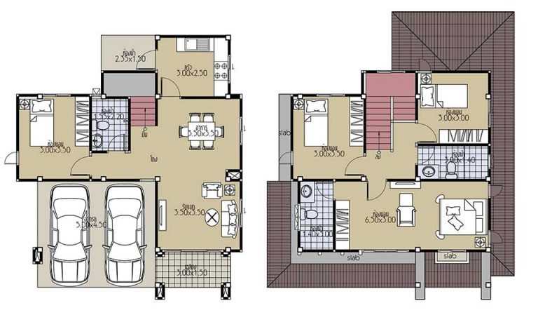 House Plans 8x10.5 with 4 Beds floor plan