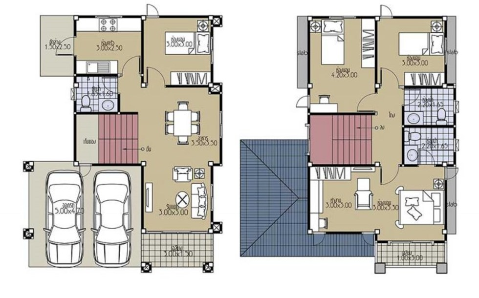 House Plans 8x11 with 4 Bedrooms floor plans