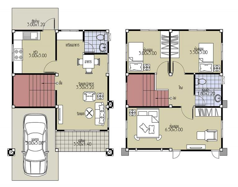Small House Plans 6.5x8.2 with 3 Beds floor plan