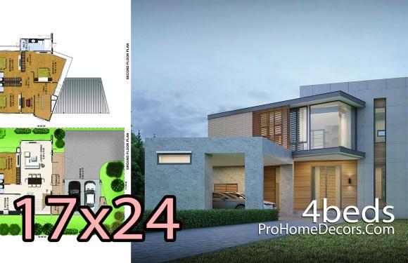 4 Bedrooms House Design Plans Plot 17x24M
