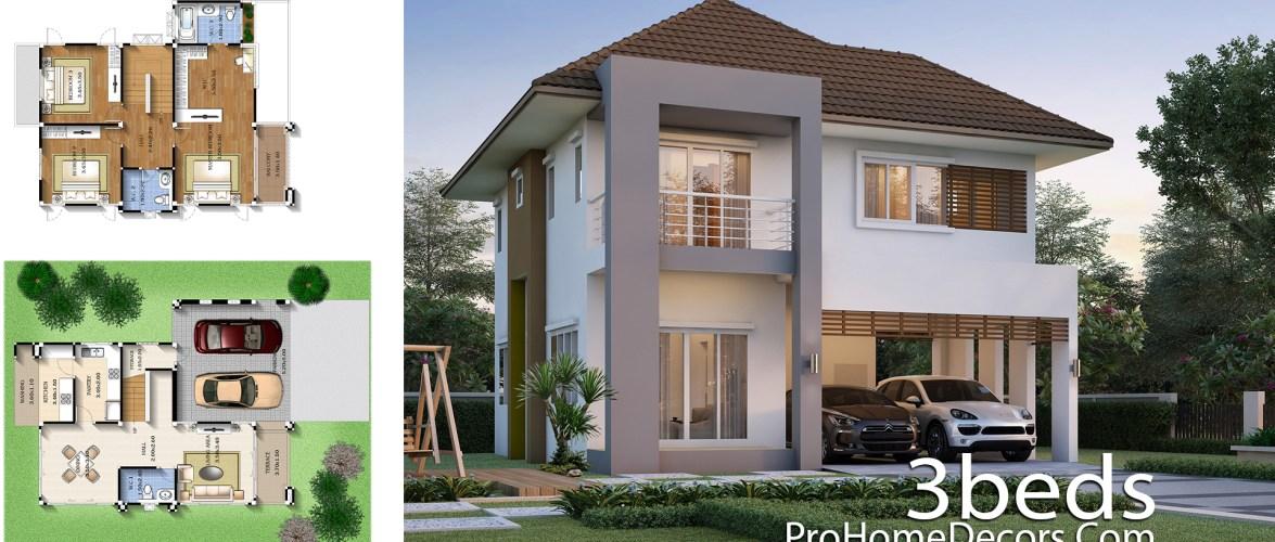 3 Bedrooms House Plan 9×11 Meters