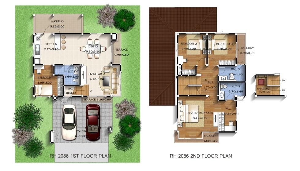 4-Bedrooms-House-Design-8x12-meters-Layout-floor-plan
