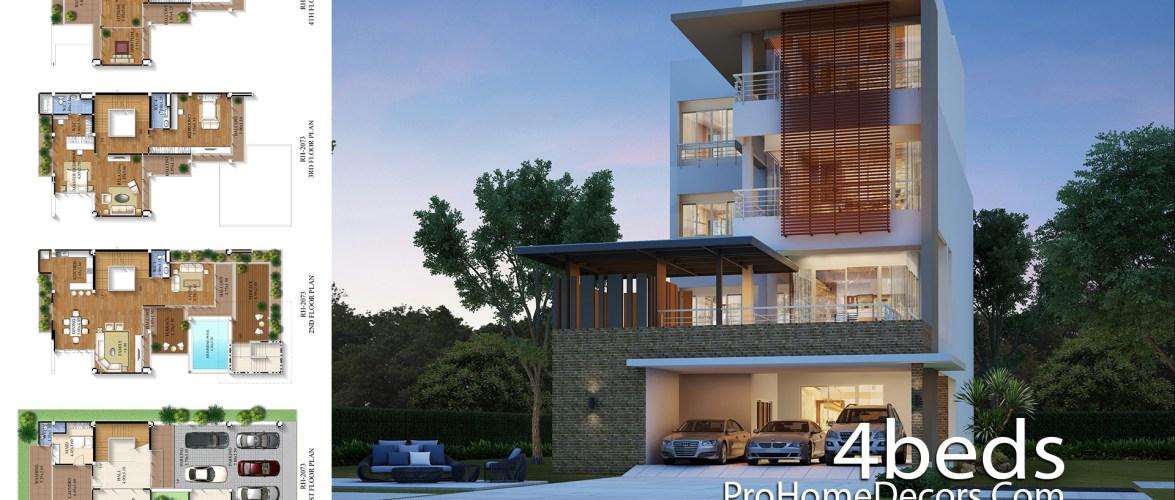 Exclusive House Plan 12×20 Meter with 4 Bedrooms